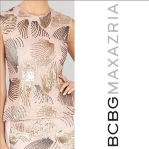 BCBG/Max Azria 'Savanah' Blush Sequin Peplum top
